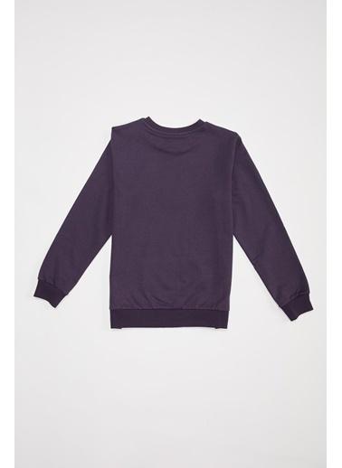 Defacto –Fit Erkek Çocuk Baskılı Sweatshirt Mor